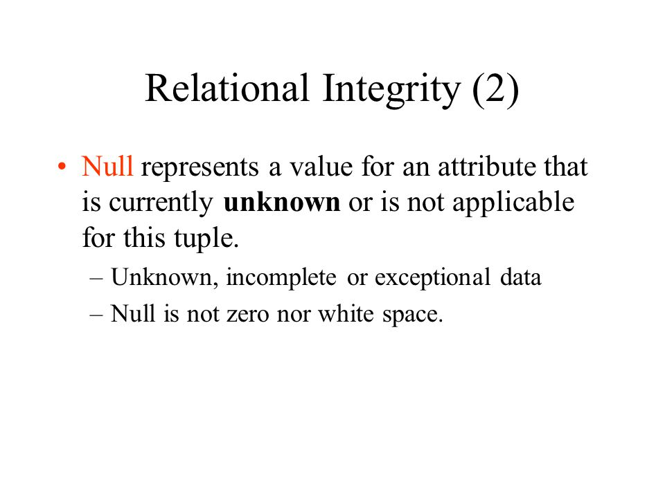 Relational Integrity (2)