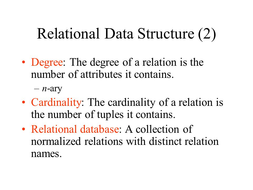 Relational Data Structure (2)