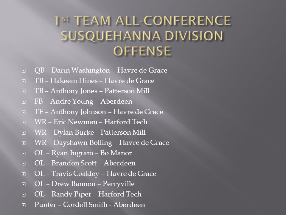 1st TEAM ALL-CONFERENCE SUSQUEHANNA DIVISION OFFENSE