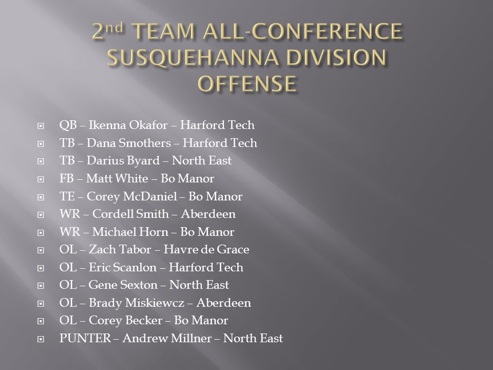 2nd TEAM ALL-CONFERENCE SUSQUEHANNA DIVISION OFFENSE