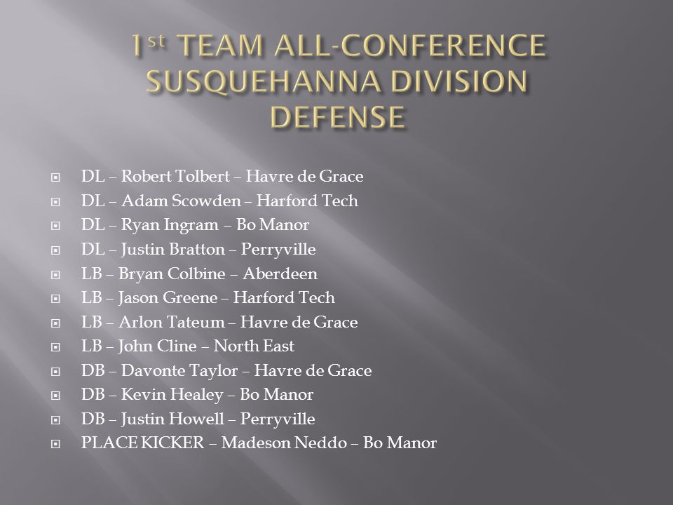 1st TEAM ALL-CONFERENCE SUSQUEHANNA DIVISION DEFENSE