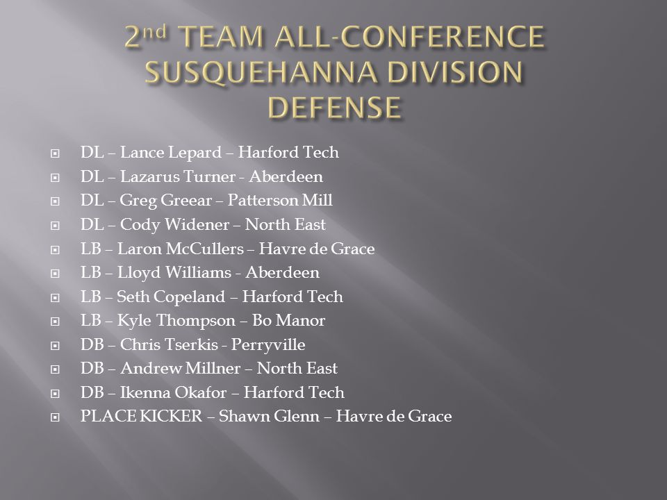 2nd TEAM ALL-CONFERENCE SUSQUEHANNA DIVISION DEFENSE