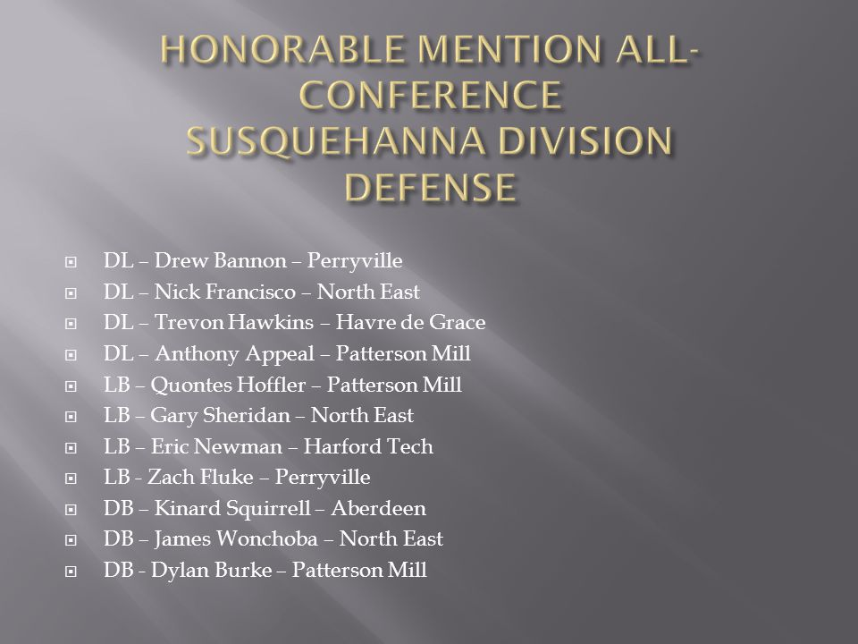 HONORABLE MENTION ALL-CONFERENCE SUSQUEHANNA DIVISION DEFENSE