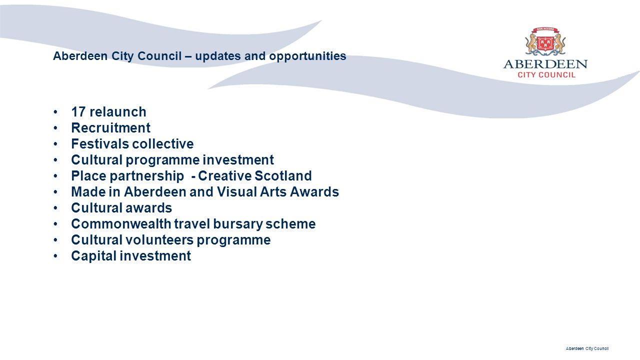 Aberdeen City Council – updates and opportunities