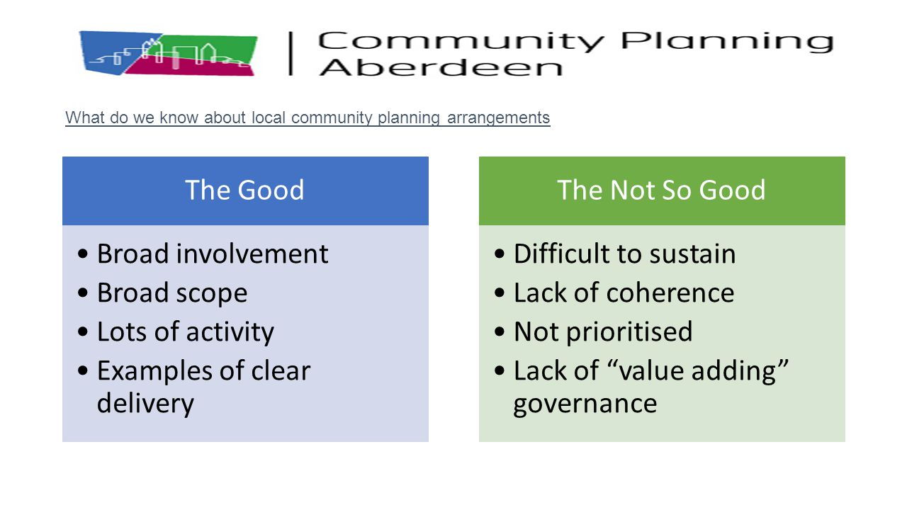 What do we know about local community planning arrangements
