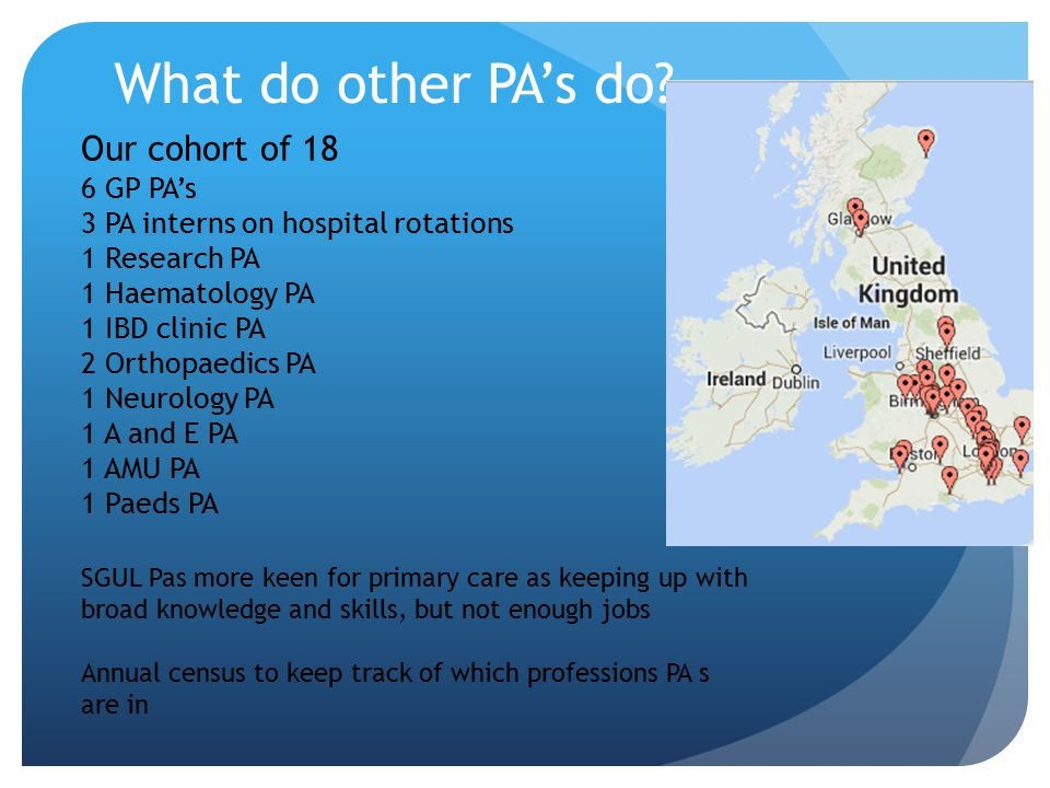 What do other PA's do Our cohort of 18 6 GP PA's