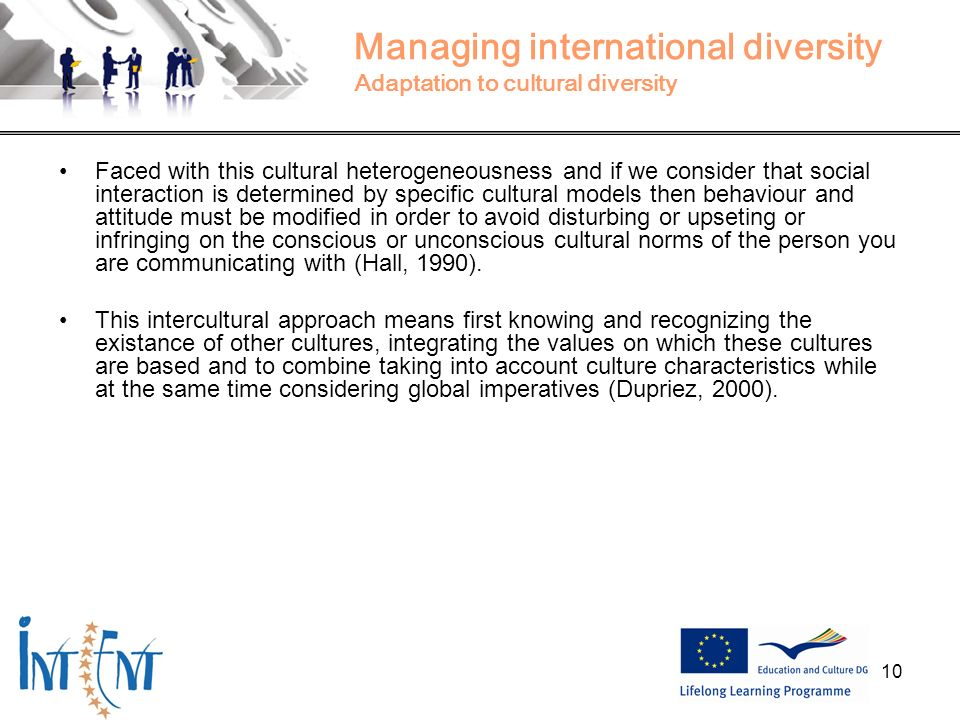 Managing international diversity Adaptation to cultural diversity