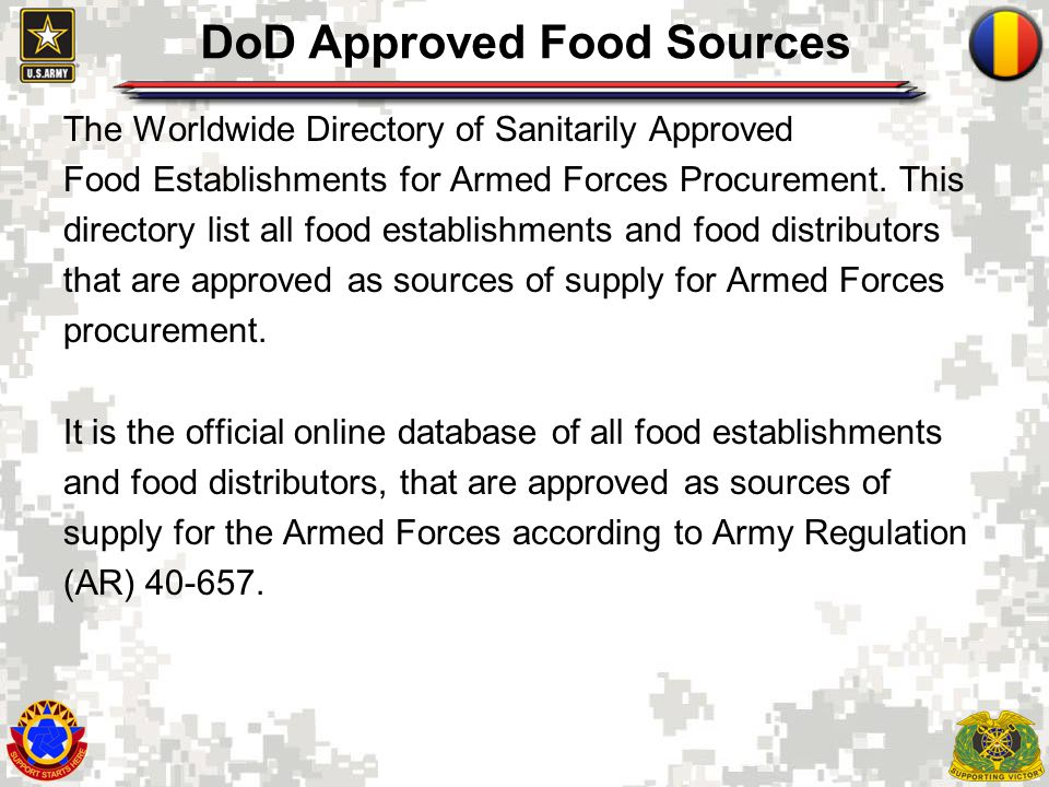 DoD Approved Food Sources