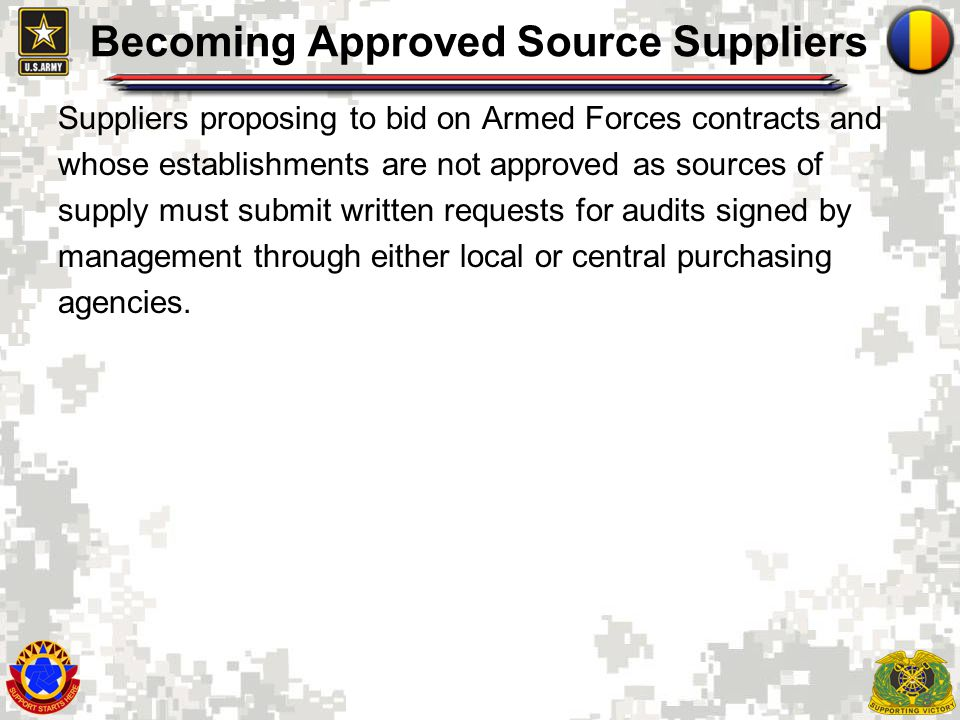 Becoming Approved Source Suppliers