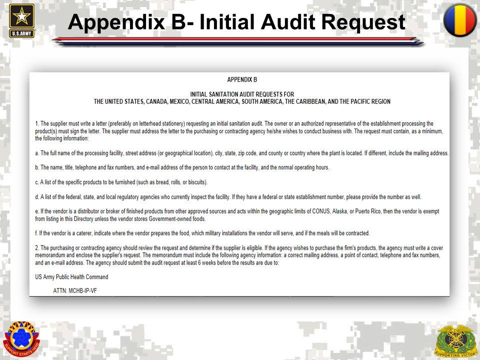 Appendix B- Initial Audit Request