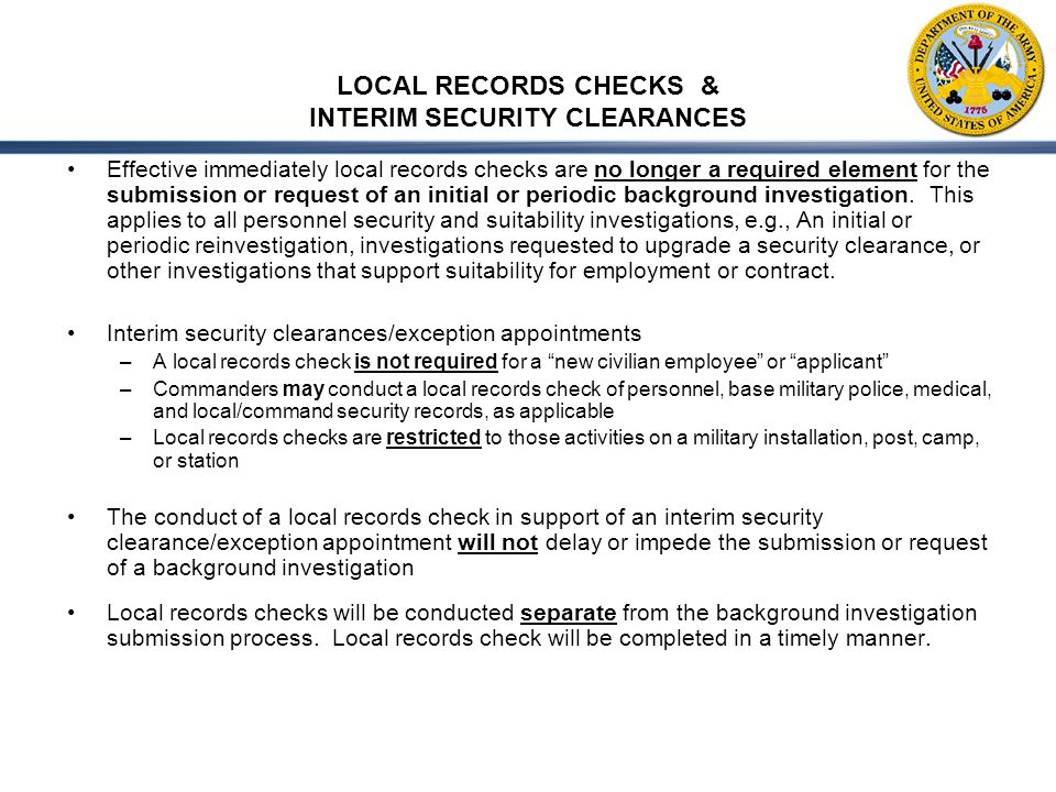 LOCAL RECORDS CHECKS & INTERIM SECURITY CLEARANCES