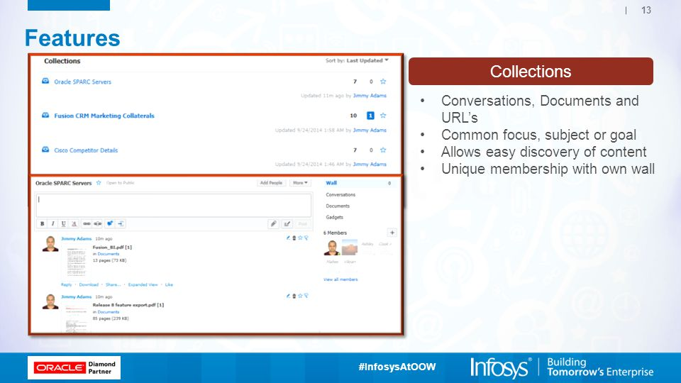Features Collections Conversations, Documents and URL's