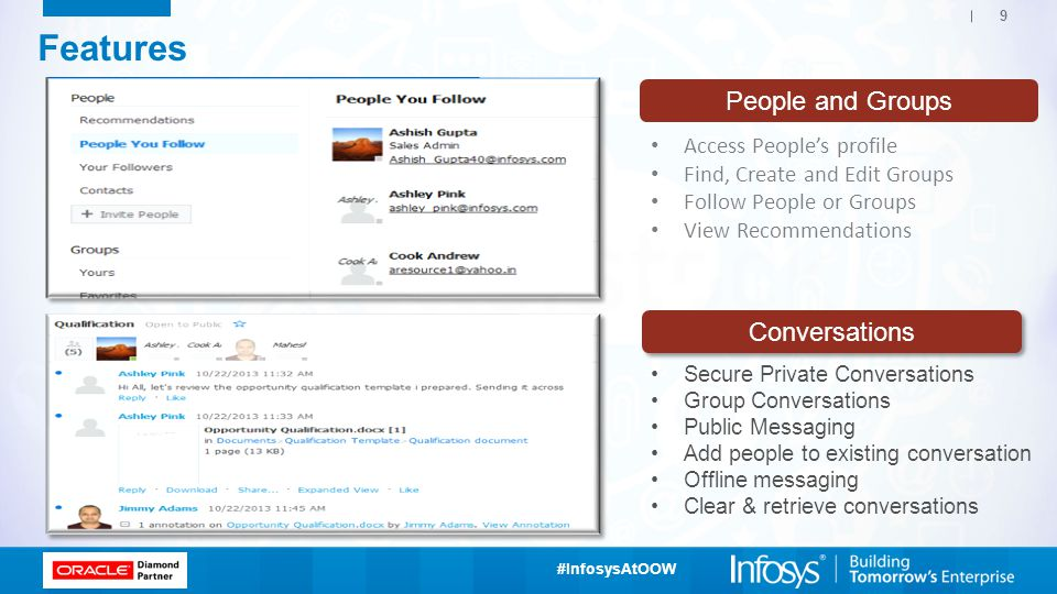 Features People and Groups Conversations Access People's profile