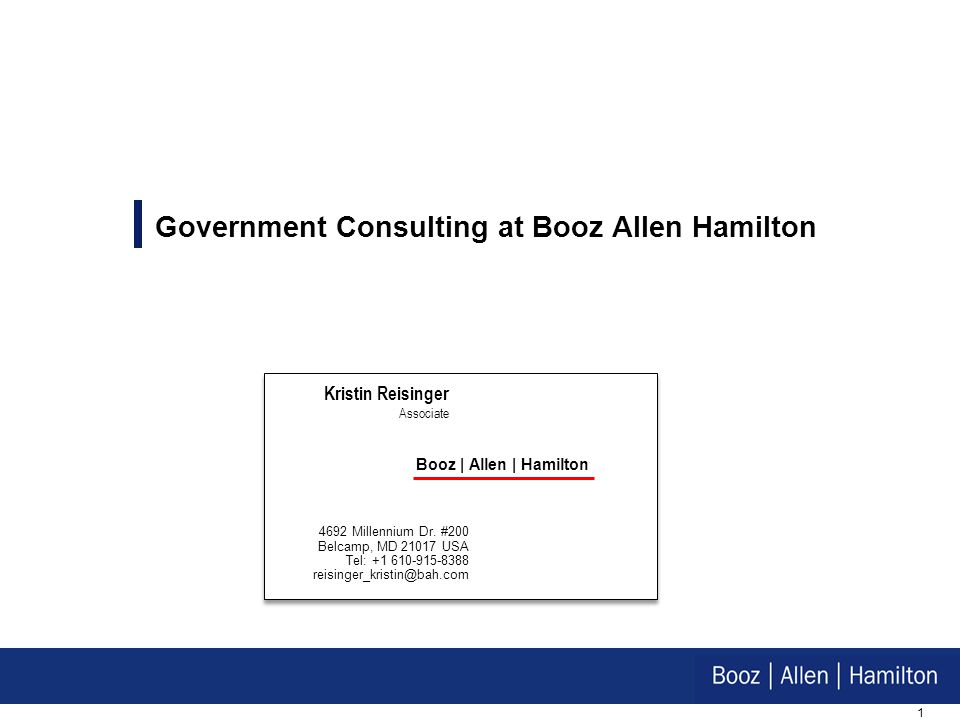 Government Consulting at Booz Allen Hamilton