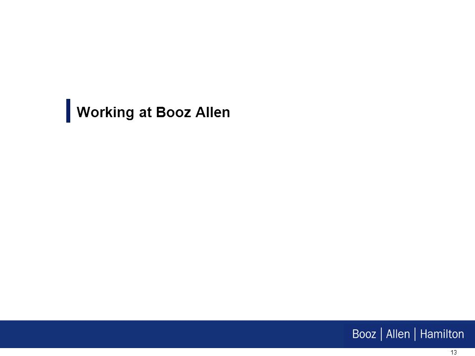 Working at Booz Allen