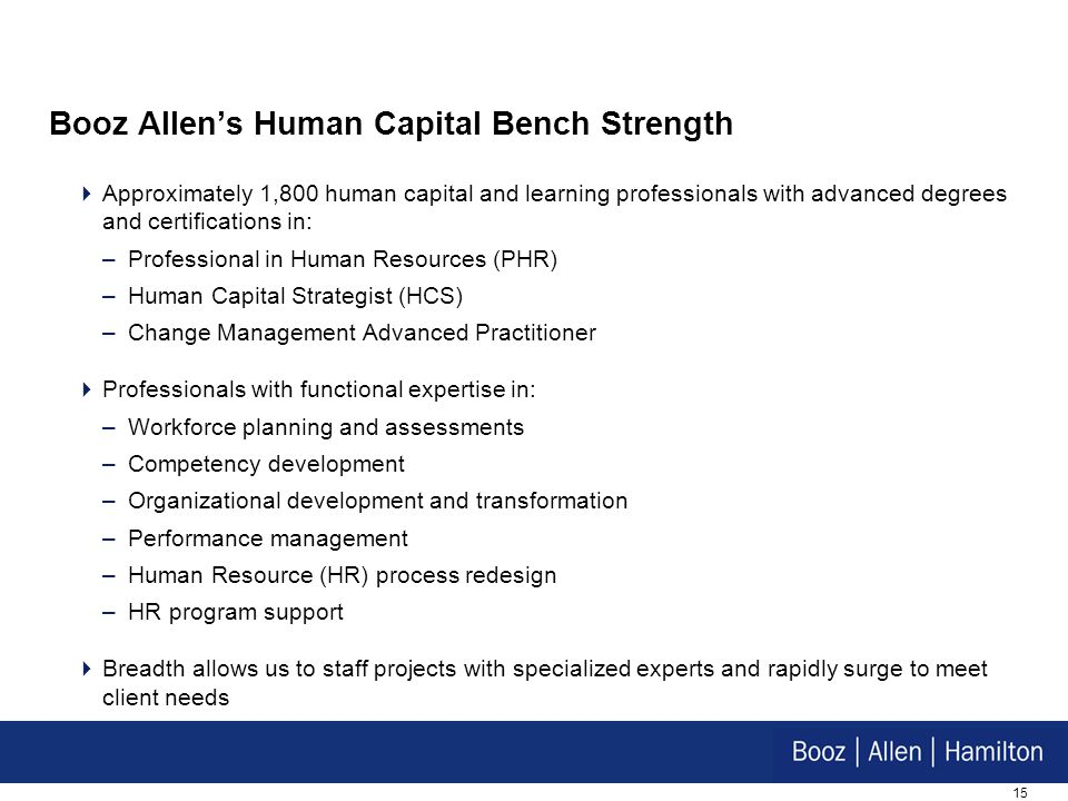 Booz Allen's Human Capital Bench Strength