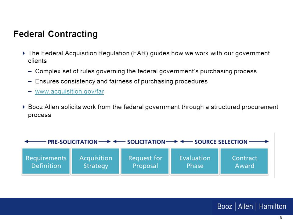 Federal Contracting The Federal Acquisition Regulation (FAR) guides how we work with our government clients.