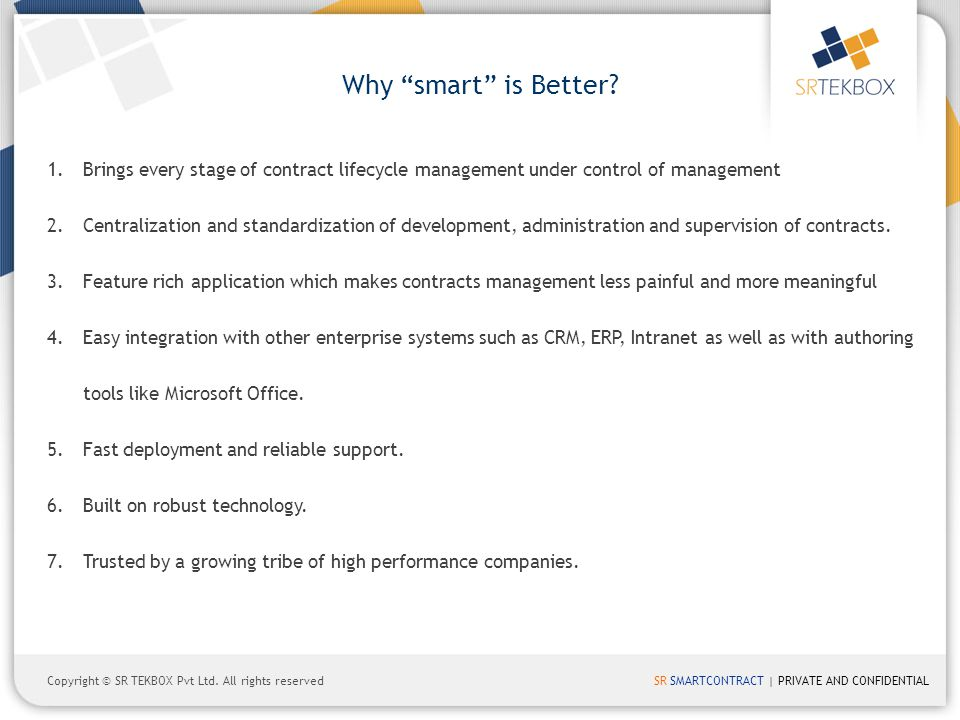 Why smart is Better Brings every stage of contract lifecycle management under control of management.