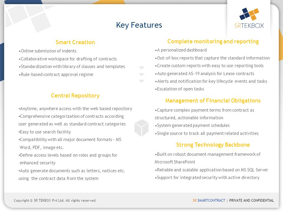 Key Features Complete monitoring and reporting Smart Creation