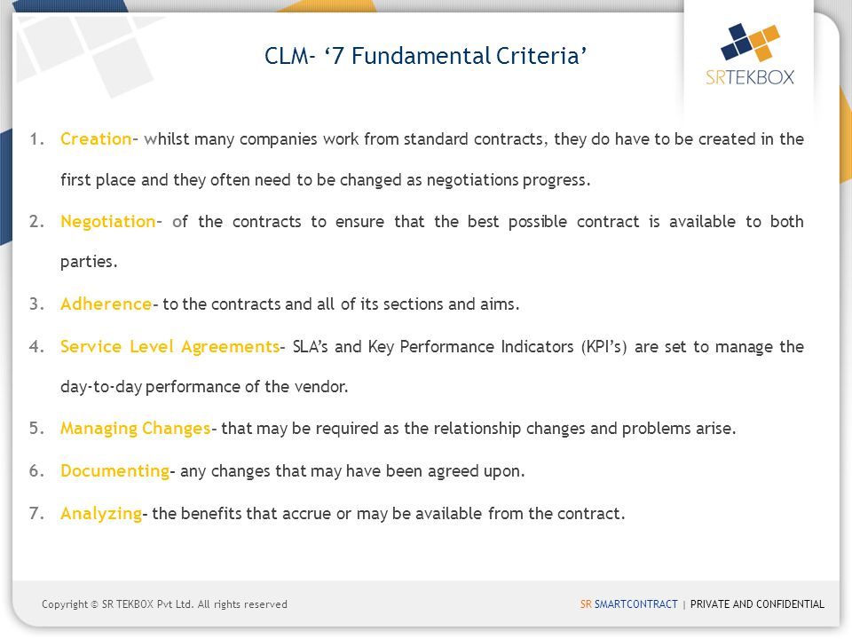 CLM- '7 Fundamental Criteria'