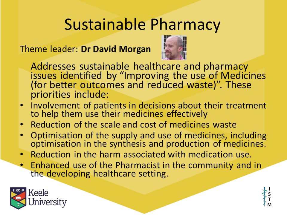 Sustainable Pharmacy Theme leader: Dr David Morgan