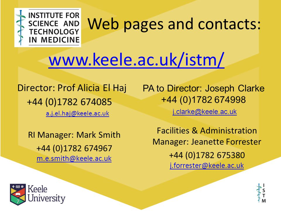 Web pages and contacts:
