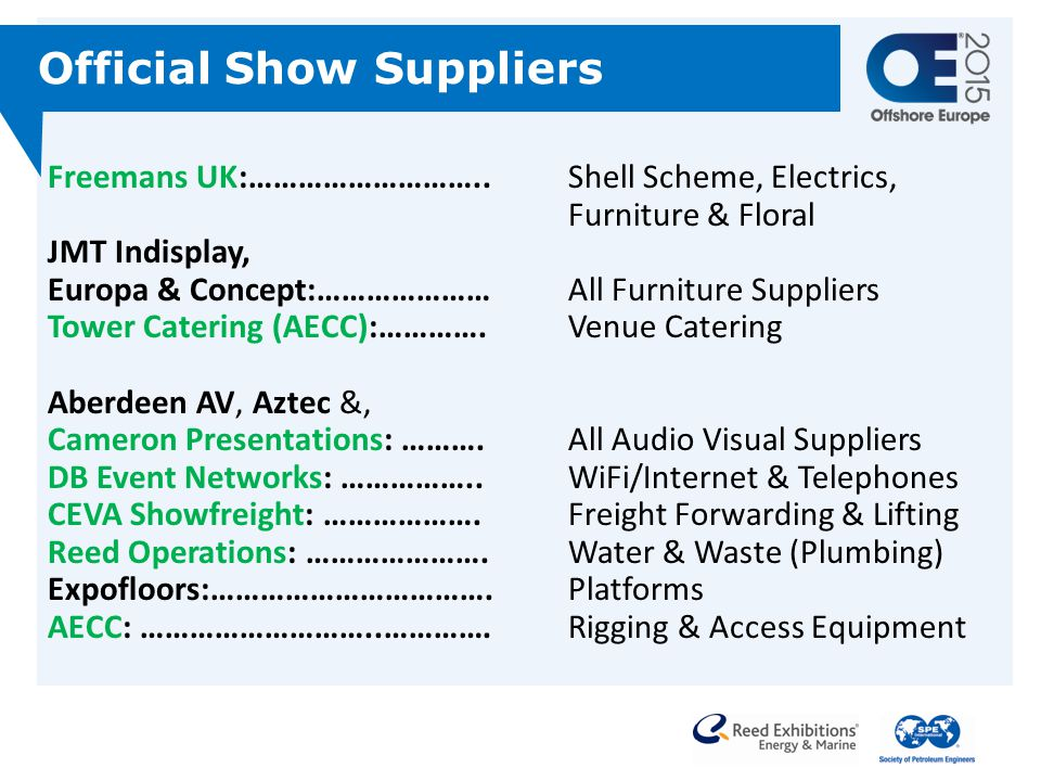 Official Show Suppliers