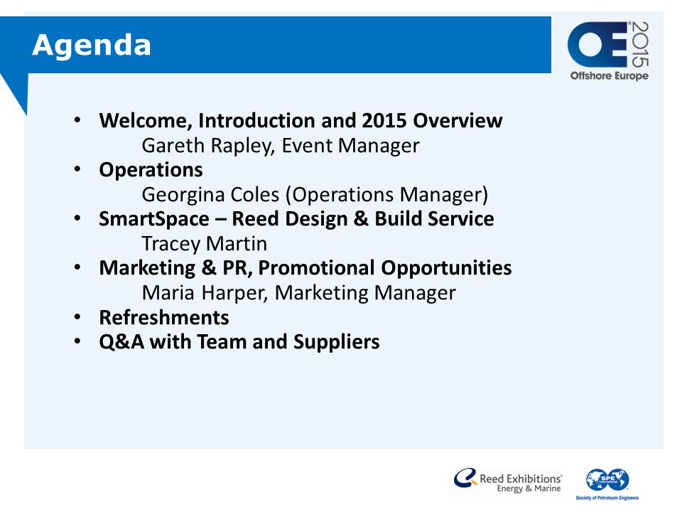 Agenda Welcome, Introduction and 2015 Overview