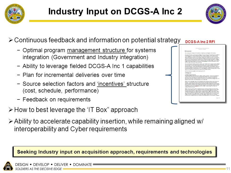 Industry Input on DCGS-A Inc 2