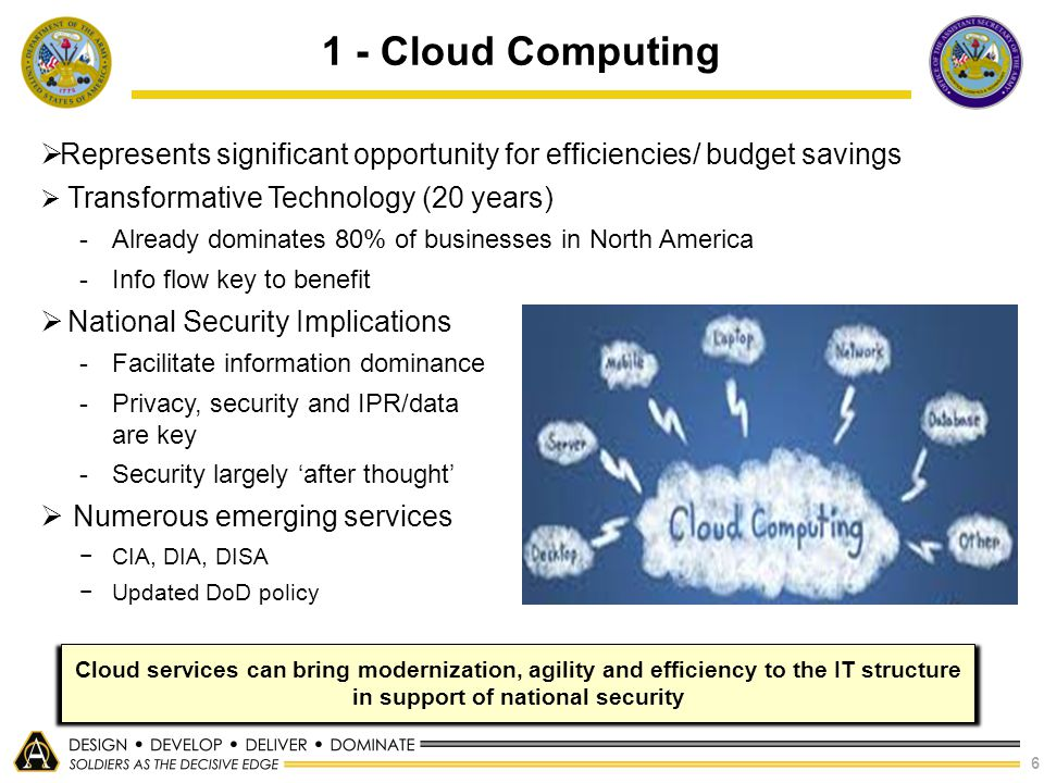 1 - Cloud Computing Represents significant opportunity for efficiencies/ budget savings. Transformative Technology (20 years)