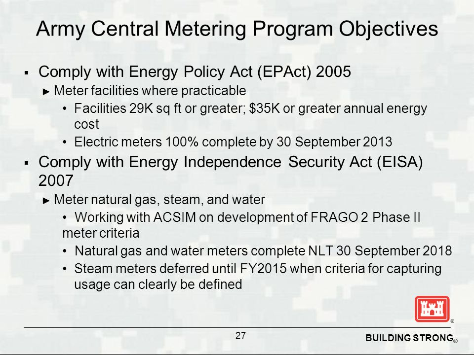 Army Central Metering Program Objectives