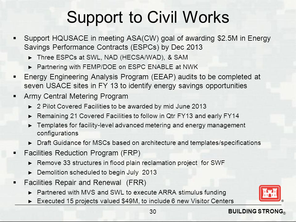 Support to Civil Works Support HQUSACE in meeting ASA(CW) goal of awarding $2.5M in Energy Savings Performance Contracts (ESPCs) by Dec 2013.