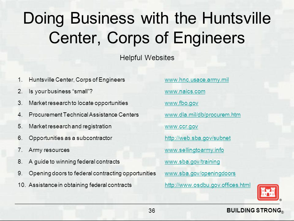 Doing Business with the Huntsville Center, Corps of Engineers