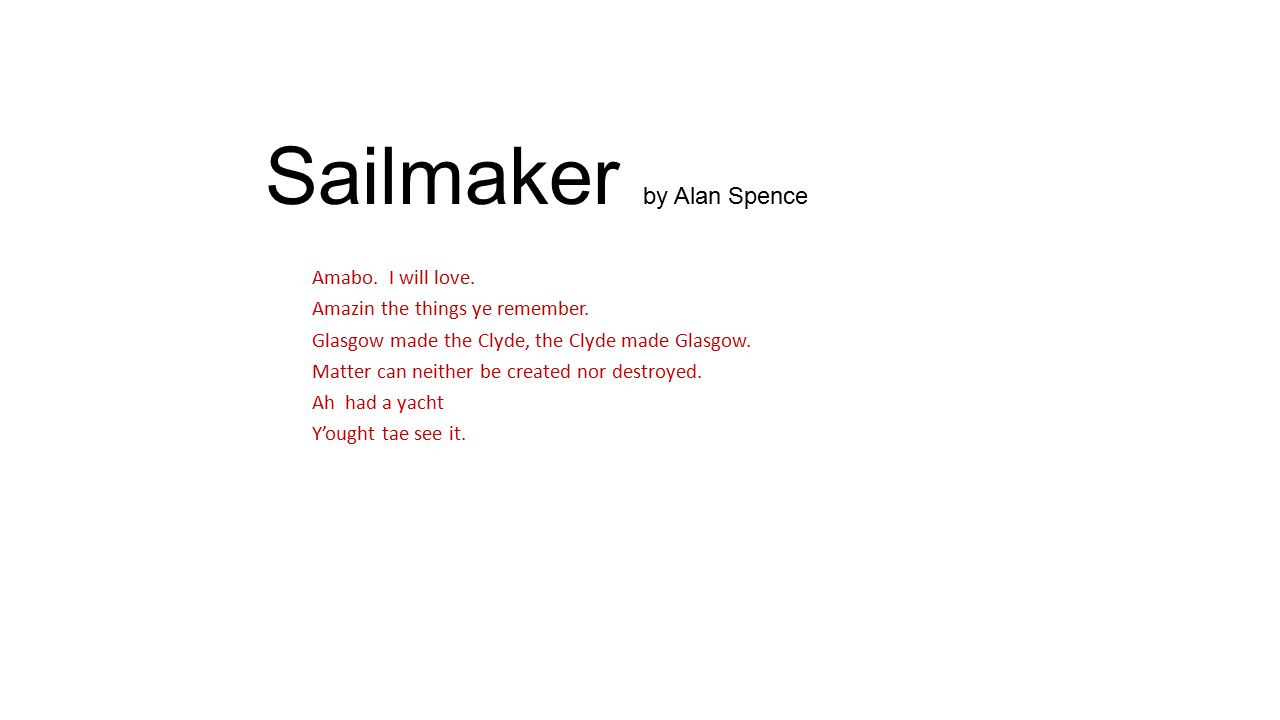 Sailmaker by Alan Spence