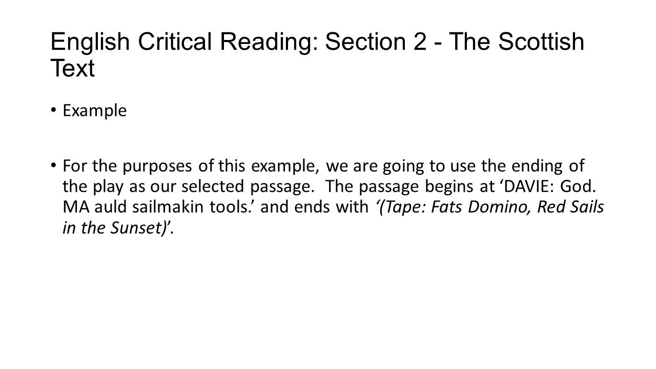 English Critical Reading: Section 2 - The Scottish Text