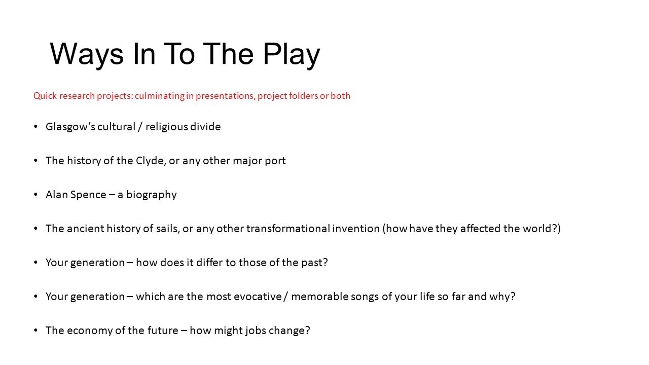 Ways In To The Play Glasgow's cultural / religious divide
