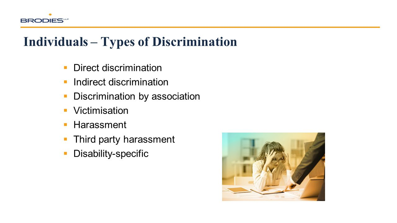 Individuals – Types of Discrimination