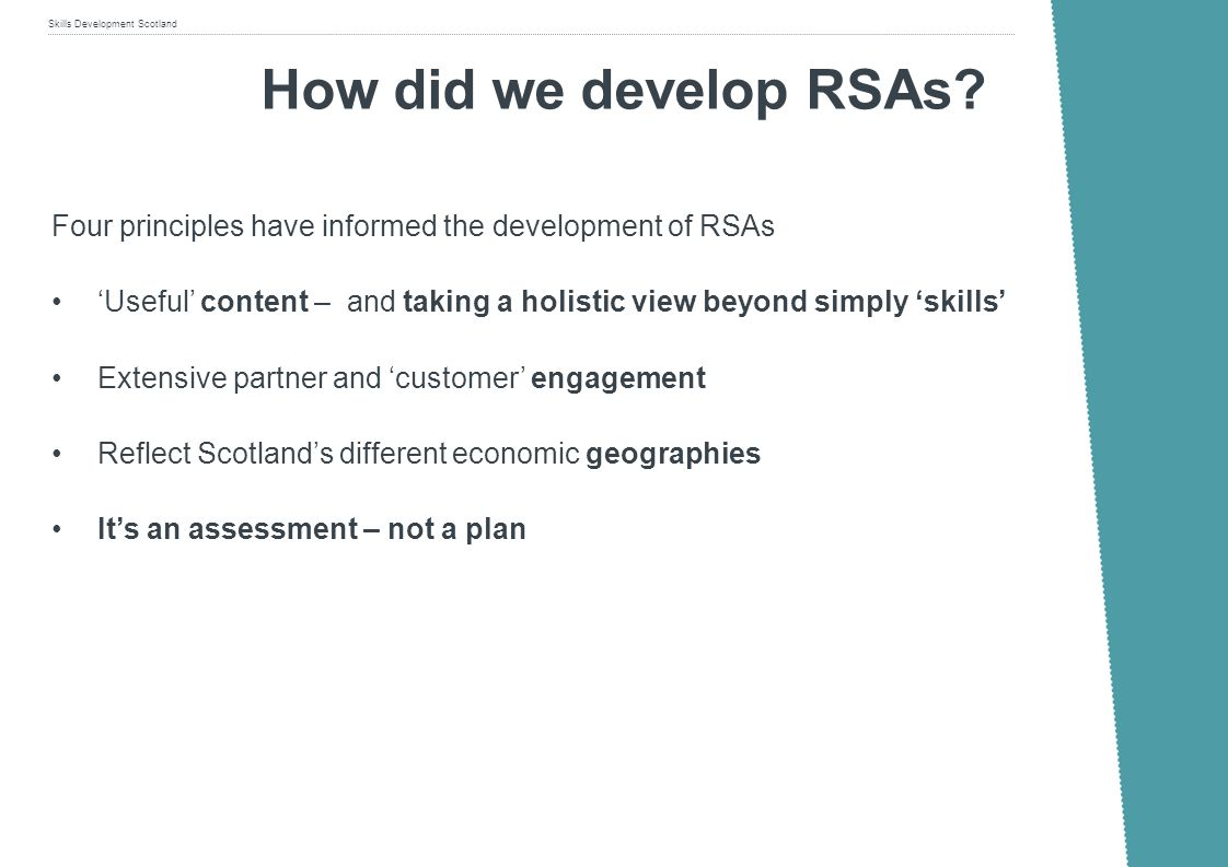 How did we develop RSAs Four principles have informed the development of RSAs.