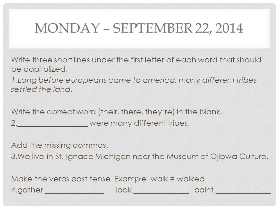 Monday – September 22, 2014