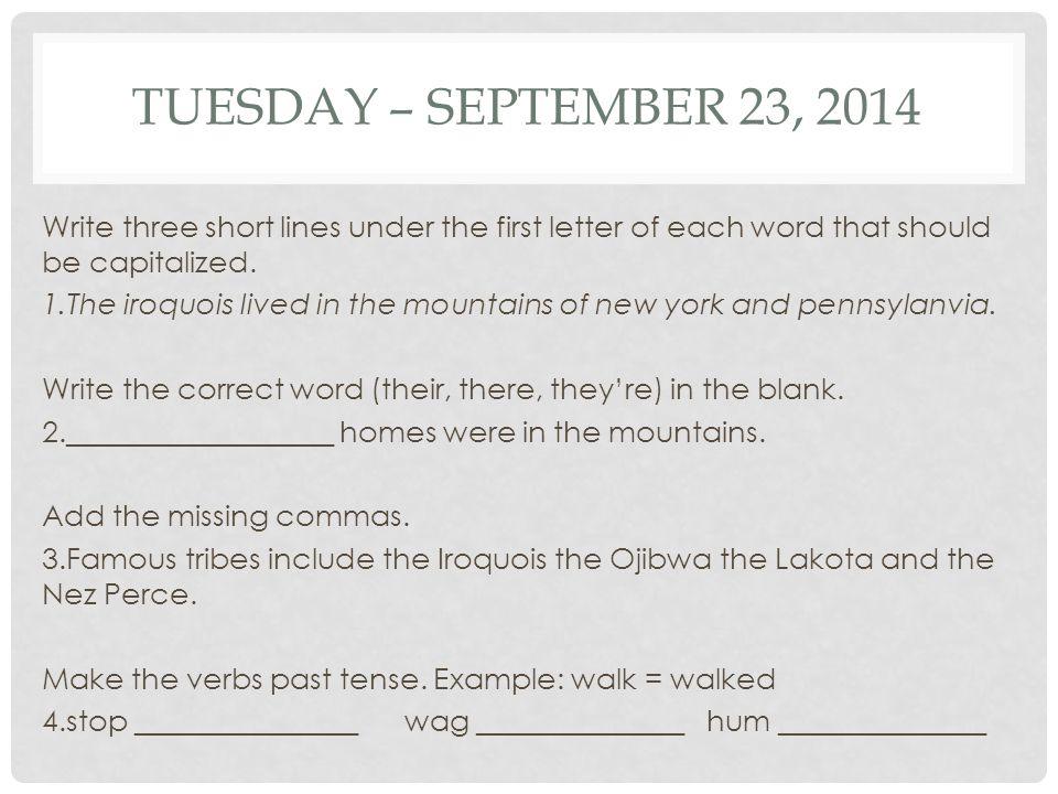Tuesday – September 23, 2014