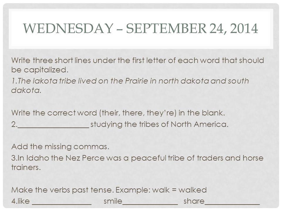 Wednesday – September 24, 2014