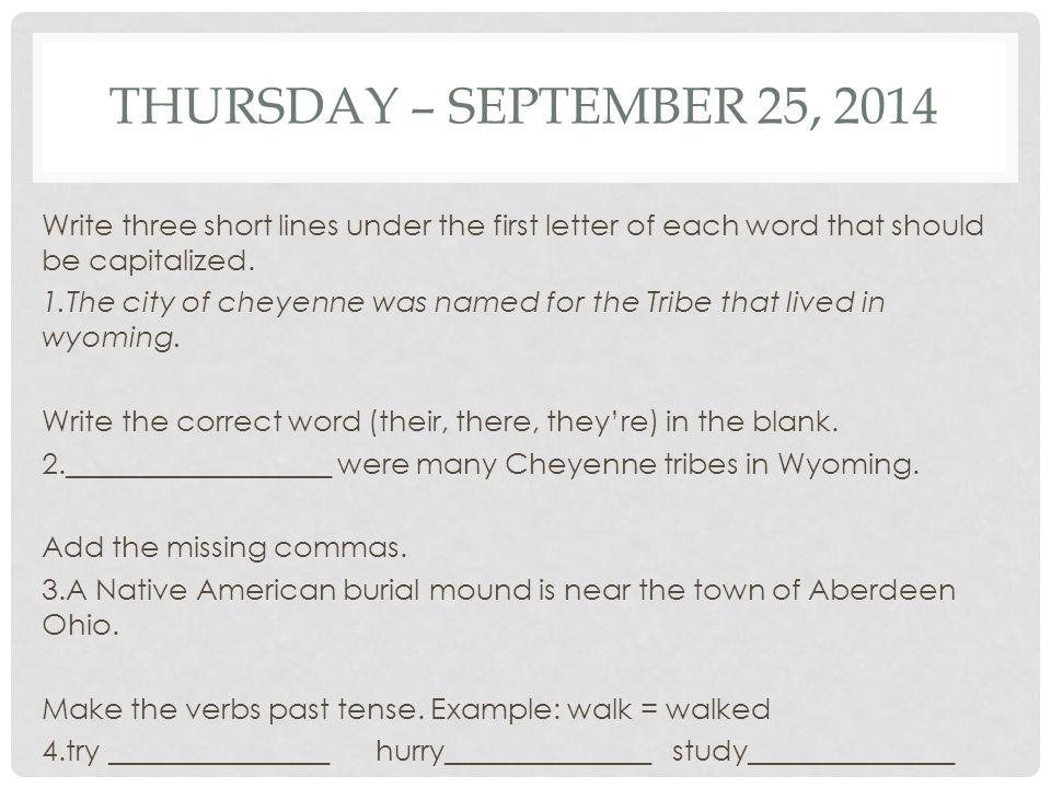 Thursday – September 25, 2014