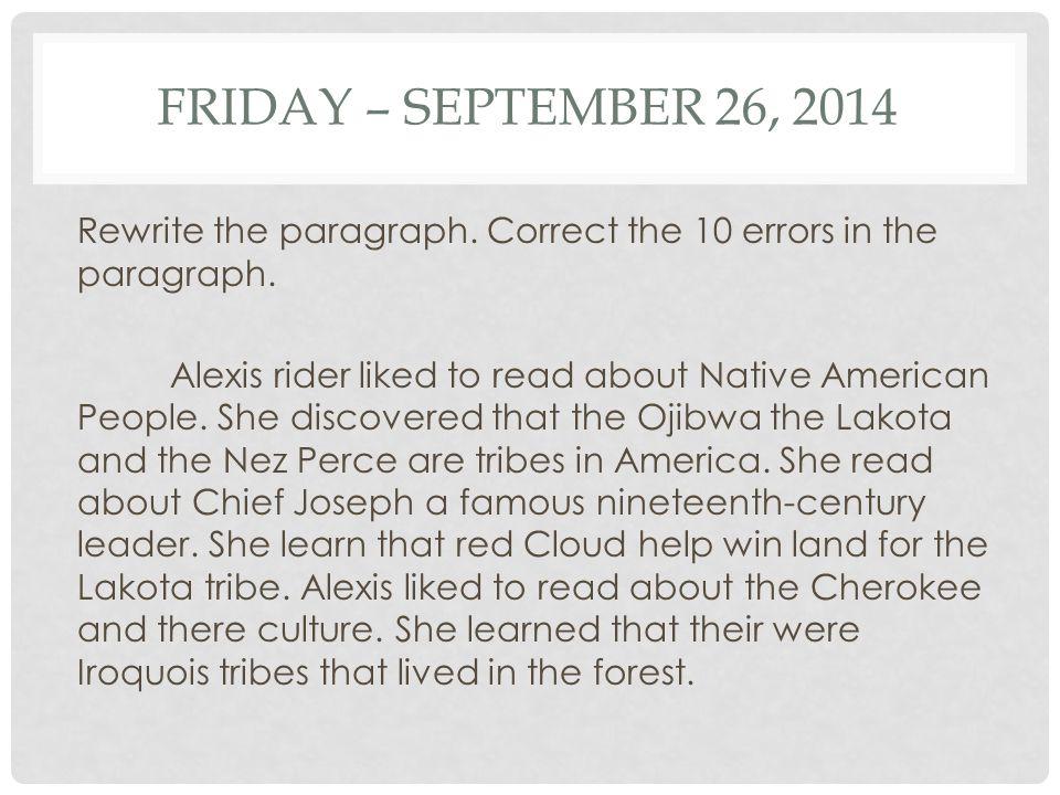 Friday – September 26, 2014