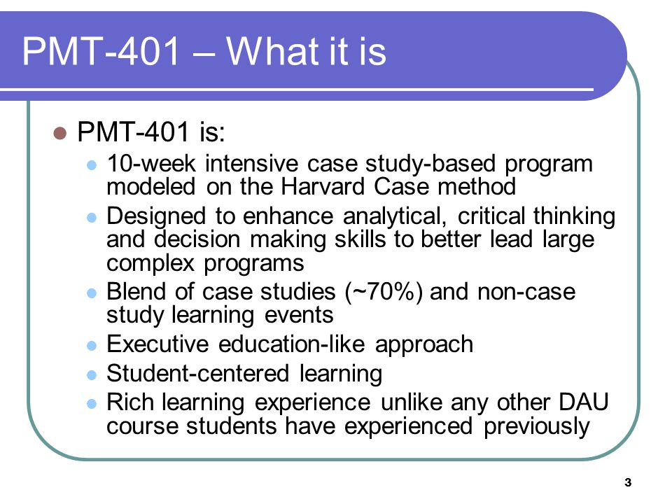PMT-401 – What it is PMT-401 is: