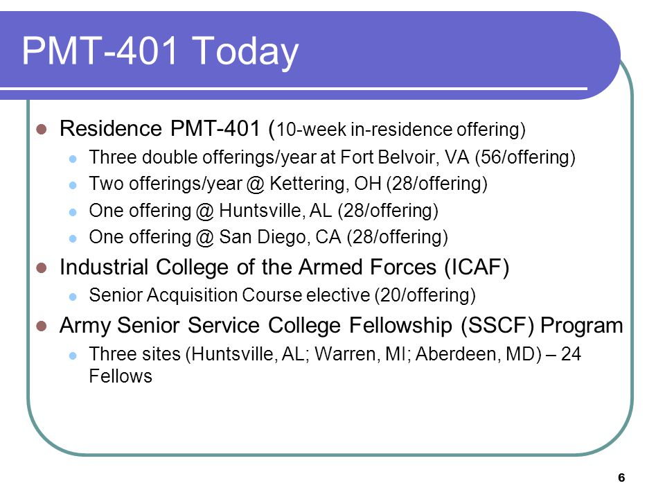 PMT-401 Today Residence PMT-401 (10-week in-residence offering)
