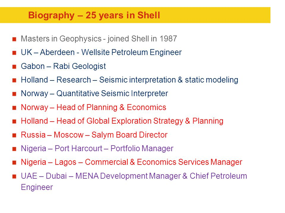Biography – 25 years in Shell