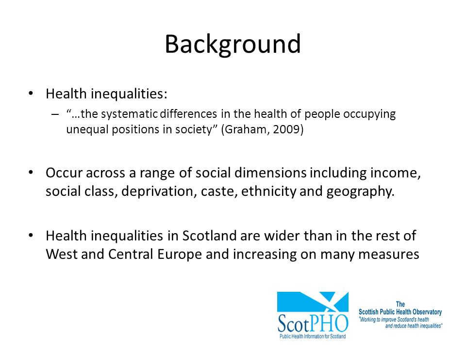 Background Health inequalities: