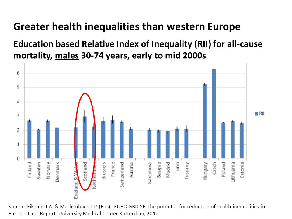 Greater health inequalities than western Europe Education based Relative Index of Inequality (RII) for all-cause mortality, males 30-74 years, early to mid 2000s