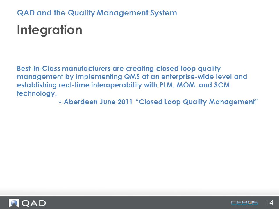 Integration QAD and the Quality Management System