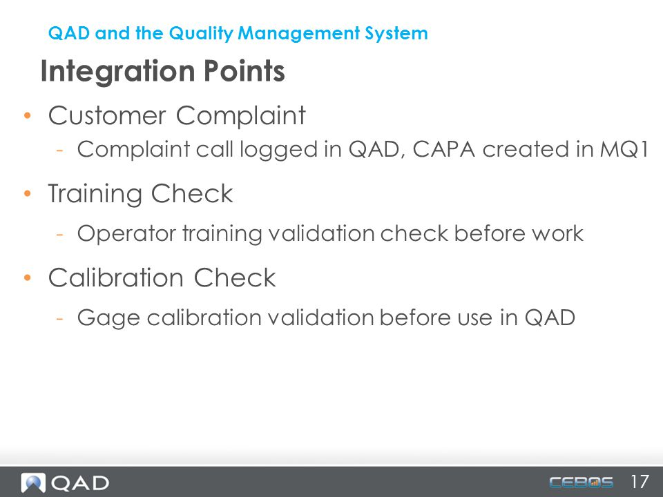 Integration Points Customer Complaint Training Check Calibration Check